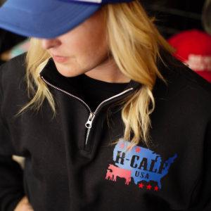 Unisex Black qtr zip front sweatshirt