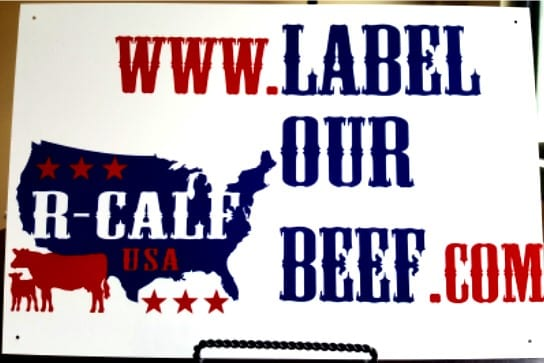 LABEL OUR BEEF ALUMINUM RANCH SIGN